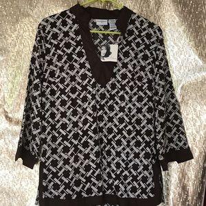 Brown & White print tunic top, linen